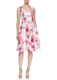 Carmen Marc Valvo Sleeveless V-Neck Floral Cocktail Dress, Ivory/Coral