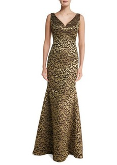 Carmen Marc Valvo Sleeveless V-Neck Scroll Lace Gown  Sleeveless V-Neck Scroll Lace Gown