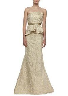 Carmen Marc Valvo Strapless Brocade Peplum Gown