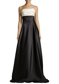 Carmen Marc Valvo Strapless Colorblock Charmeuse Ball Gown