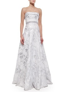 Carmen Marc Valvo Strapless Embellished-Waist Ball Gown