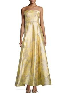 Carmen Marc Valvo Strapless Embellished-Waist Gown