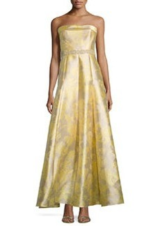 Carmen Marc Valvo Strapless Embellished-Waist Gown, Lemon