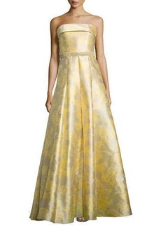 Carmen Marc Valvo Strapless Floral Printed Ball Gown  Strapless Floral Printed Ball Gown
