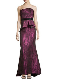 Carmen Marc Valvo Strapless Moire Gown with Beaded Waist