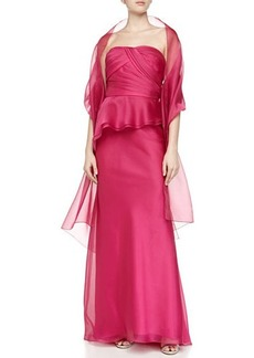 Carmen Marc Valvo Strapless Organza Peplum Gown