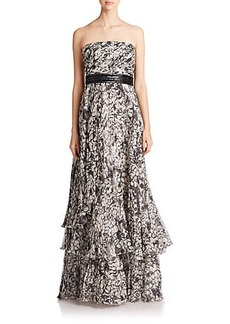 Carmen Marc Valvo Strapless Pleated Gown
