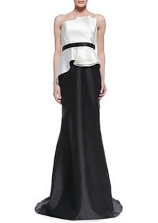Carmen Marc Valvo Strapless Ruffle Bodice Combo Gown, Ivory/Black