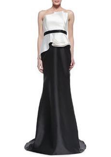 Carmen Marc Valvo Strapless Ruffle Bodice Combo Gown, Ivory/Black