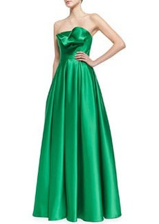 Carmen Marc Valvo Strapless Ruffle-Bodice Gown, Kelly Green