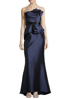Carmen Marc Valvo Strapless Satin Gown with Beaded Waist