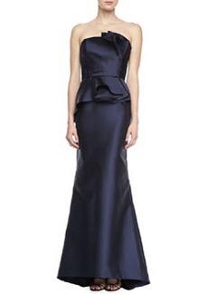 Carmen Marc Valvo Strapless Satin Peplum Gown, Midnight