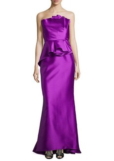 Carmen Marc Valvo Strapless Satin Ruffled Mermaid Gown