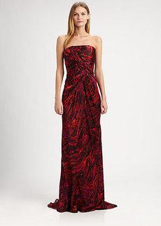 Carmen Marc Valvo Strapless Silk Satin Gown & Stole
