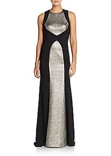 Carmen Marc Valvo Infusion Stretch Crepe & Metallic Jacquard Gown