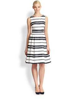 Carmen Marc Valvo Stripe Brocade Dress
