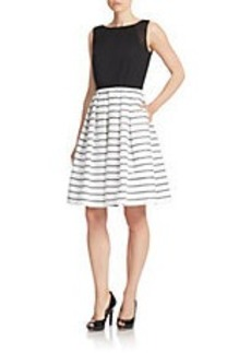 CARMEN MARC VALVO Striped Fit-and-Flare Dress