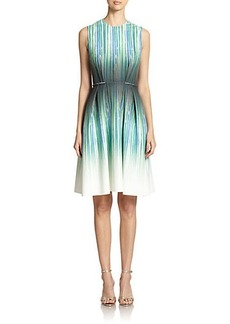 Carmen Marc Valvo Striped Pleated Scuba Dress
