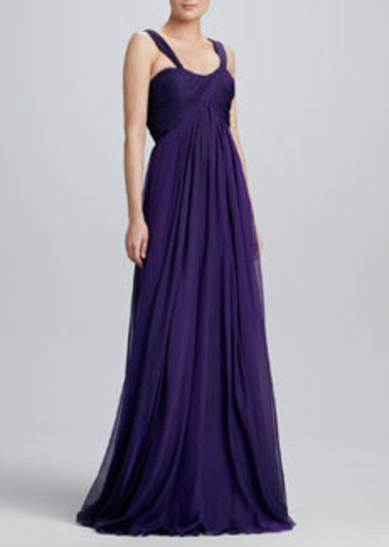 Carmen Marc Valvo Sweetheart-Neck Chiffon Gown