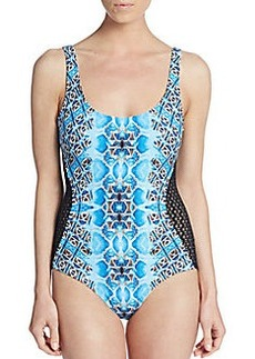 Carmen Marc Valvo Swimwear Lace-Panel Printed One-Piece Swimsuit