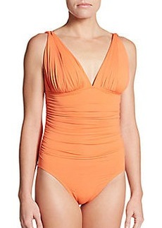 Carmen Marc Valvo Swimwear Ruched Maillot Swimsuit