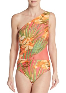 Carmen Marc Valvo Swimwear Tropical-Print One Shoulder Swimsuit