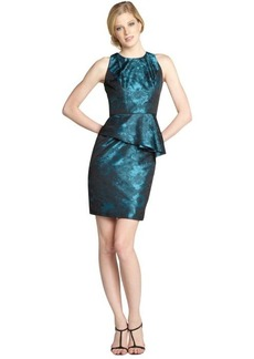 Carmen Marc Valvo teal and black floral jacquard peplum dress