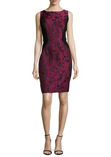Carmen Marc Valvo Textured Cocktail Dress with Side Insets