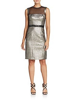 Carmen Marc Valvo Infusion Textured Metallic Sheath Dress