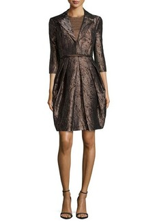 Carmen Marc Valvo Three-Quarter Sleeve Metallic Mattelasse Jacket  Three-Quarter Sleeve Metallic Mattelasse Jacket