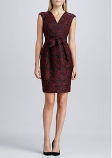 Carmen Marc Valvo Tie-Waist Jacquard Cocktail Dress