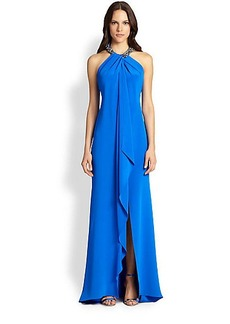 Carmen Marc Valvo Toga Necklace Gown