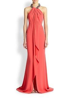 Carmen Marc Valvo Toga Necklace Gown