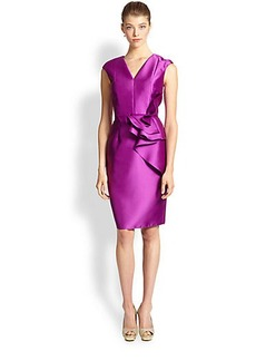 Carmen Marc Valvo Twill Ruffle-Front Dress