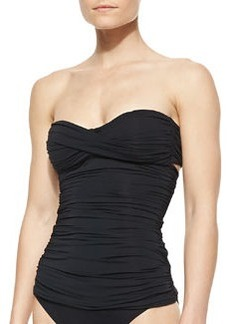 Carmen Marc Valvo Twisted-Bandeau Shirred Tankini Top