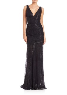 Carmen Marc Valvo V-Neck Sequin Lace Gown