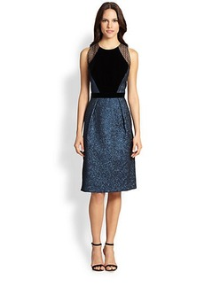 Carmen Marc Valvo Velvet & Brocade Dress