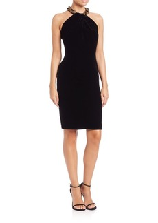 Carmen Marc Valvo Velvet Cocktail Dress
