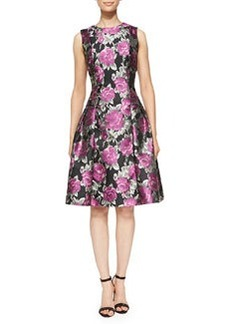 Carmen Marc Valvo White Label Flared Floral Cocktail Dress