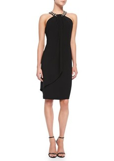 Carmen Marc Valvo Women's Beaded Halter Cocktail Dress