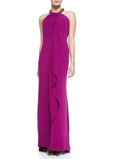 Carmen Marc Valvo Women's Beaded Halter Draped Front Gown, Women's