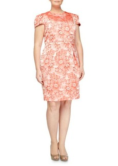 Carmen Marc Valvo Women's Rose-Jacquard Cap-Sleeve Dress