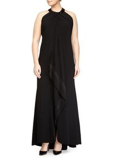Carmen Marc Valvo Women's Sleeveless Beaded-Neck Fringe-Trim Toga Gown, Black, Women's