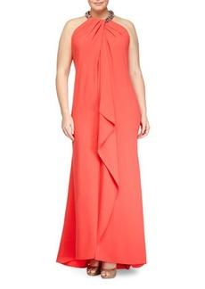 Carmen Marc Valvo Women's Sleeveless Beaded-Neck Toga Gown, Coral, Women's