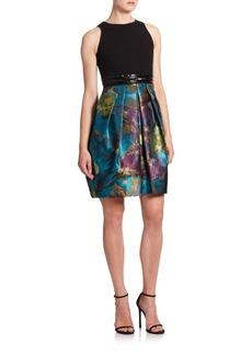 Carmen Marc Valvo Wool & Brocade Cocktail Dress