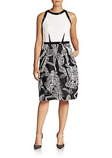 Carmen Marc Valvo Wool & Silk Floral A-Line Dress