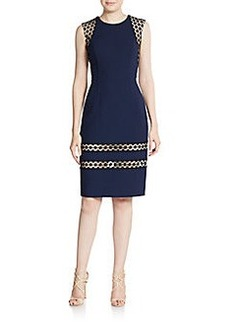 Carmen Marc Valvo Wool Organza-Inset Sheath Dress