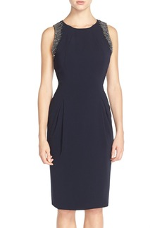 Carmen Marc Valvo Beaded Pleat Front Crepe Sheath Dress