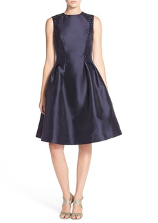 Carmen Marc Valvo Infusion Sequin Mikado Fit & Flare Dress