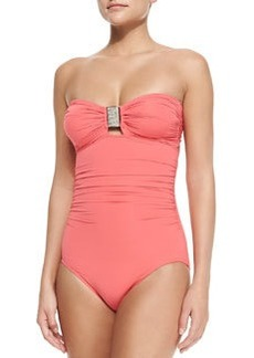 Exotic Illusion Bandeau Maillot Swimsuit, Coral   Exotic Illusion Bandeau Maillot Swimsuit, Coral